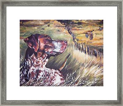 German Shorthaired Pointer And Pheasants Framed Print by Lee Ann Shepard