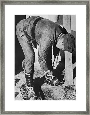 German Soldier In Russia Framed Print by Underwood Archives