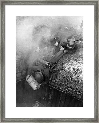 German Soldiers Launch A Suprise Attack On Bunker 17. Framed Print