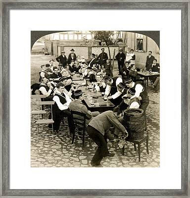 German Students Drinking Beer Framed Print by Underwood Archives