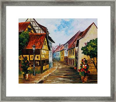German Town - Palette Knife Oil Painting On Canvas By Leonid Afremov Framed Print by Leonid Afremov