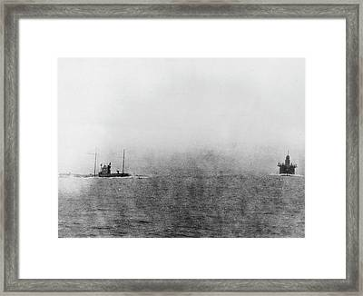 German U-boat Chasing Merchant Ship Framed Print