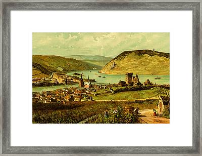 German Wine Country Rhine River Valley Framed Print by Private Collection