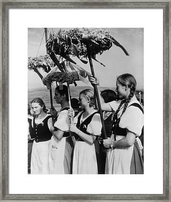 German Women Wearing Traditional Folk Framed Print