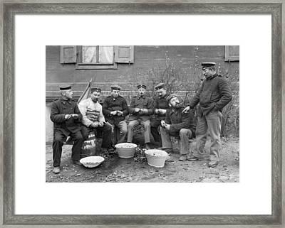 Germans Peeling Potatoes Framed Print by Underwood Archives