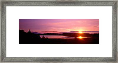 Germany , Forggen Lake, Sunset Framed Print by Panoramic Images