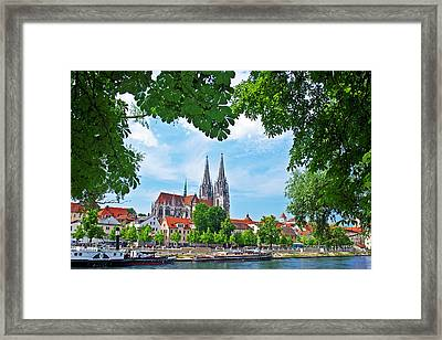 Germany , Regensburg, Old Town Skyline Framed Print