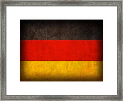 Germany Flag Vintage Distressed Finish Framed Print