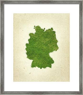 Germany Grass Map Framed Print by Aged Pixel