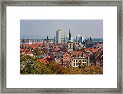 Germany, Thuringia, Erfurt, View Of City Framed Print by Westend61