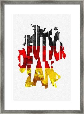 Germany Typographic Map Flag Framed Print by Ayse Deniz