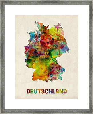 Germany Watercolor Map Deutschland Framed Print by Michael Tompsett
