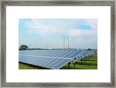 Germany Wind Energy Turbines And Solar Framed Print by Bill Bachmann