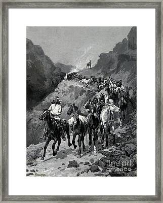 Geronimo And His Band Returning From A Raid Into Mexico Framed Print by Frederic Remington