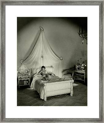 Gertrude Lawrence In Bed Framed Print by Cecil Beaton