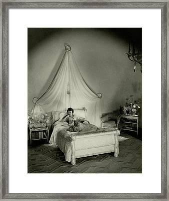 Gertrude Lawrence In Bed Framed Print
