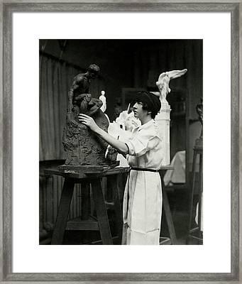 Gertrude Whitney Sculpting Framed Print