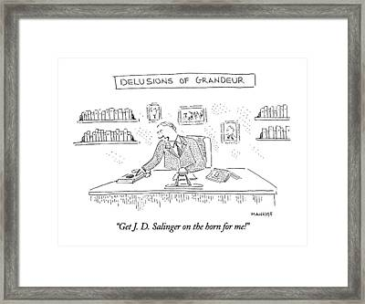 Get J. D. Salinger On The Horn For Me! Framed Print by Robert Mankoff