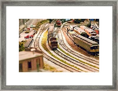 Trains And Train Station Framed Print by Vizual Studio