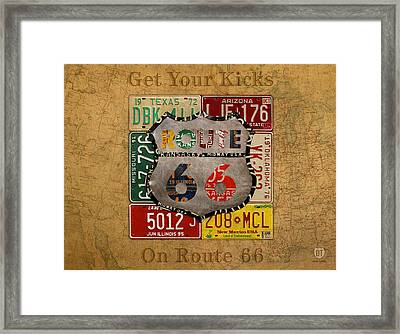 Get Your Kicks On Route 66 Vintage License Plate Art On Worn United States Highway Map Framed Print by Design Turnpike