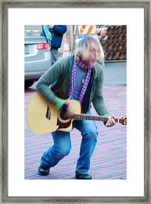 Framed Print featuring the photograph Gettin Down - Street Musician In Seattle by Jane Eleanor Nicholas
