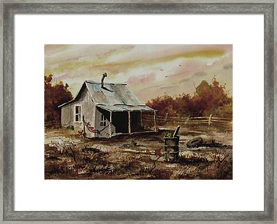 Gettin' The Yard Work Done Framed Print by Sam Sidders