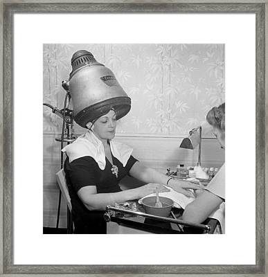 Getting A Manicure While Drying Hair Framed Print by Historic Photos
