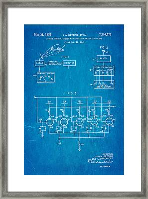 Getting Global Positioning System Gps Patent Art 1955 Blueprint Framed Print by Ian Monk