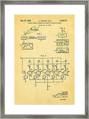 Getting Global Positioning System Gps Patent Art 1955 Framed Print by Ian Monk