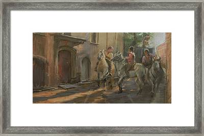 Getting Ready For The Bull Run, 2009 Pastel On Paper Framed Print by Pat Maclaurin