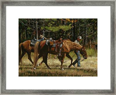 Getting Ready To Ride Framed Print by Don  Langeneckert