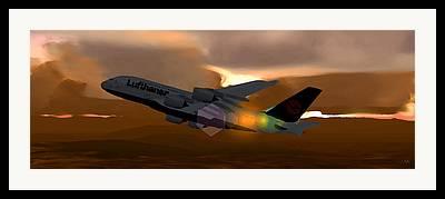 Climbing Aircraft Mixed Media Framed Prints