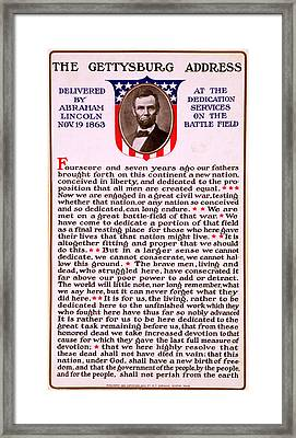 Gettysburg Address By Abraham Lincoln  Framed Print by M T Sheahan