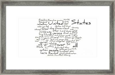 Gettysburg Address-emancipation Proclamation-second Inaugural Address-word Cloud Framed Print by David Bearden