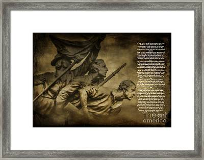Gettysburg Address With North Carolina Monument Framed Print by Randy Steele