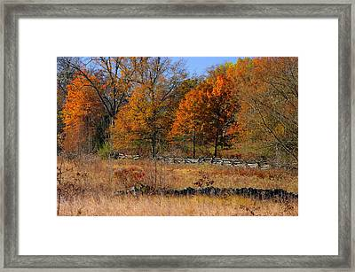 Gettysburg At Rest - Autumn Looking Towards The J. Weikert Farm Framed Print by Michael Mazaika