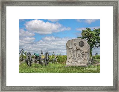 Gettysburg Battlefield 15th Ny Battery Cannon  Framed Print