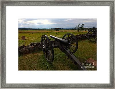 Gettysburg Battlefield Historic Monument Framed Print by James Brunker