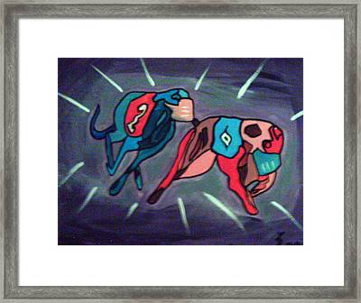 Geyhounds Running Framed Print