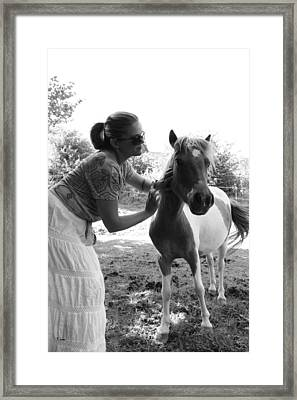 Gg And Her Horse Framed Print by Thomas Leon