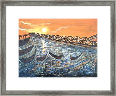 Godavari River And Bridge Framed Print