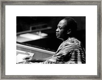 Ghana President Kwame Nkrumah Framed Print by Underwood Archives