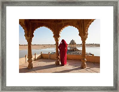 Ghat On Lake Gadisar, Jaisalmer Framed Print by Peter Adams