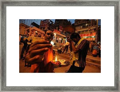 Ghat Priest Framed Print by Money Sharma