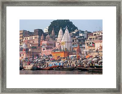 Ghats Along The Bank Of The Ganges Framed Print by Keren Su