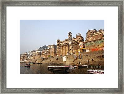 Ghats And Boats On The River Ganges At Varanasi In India Framed Print by Robert Preston