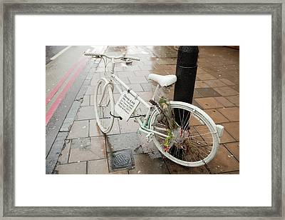 Ghost Bike Tribute To A Cyclist Framed Print by Ashley Cooper