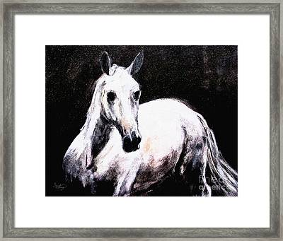Ghost Horse Modern Painting Framed Print by Ginette Callaway