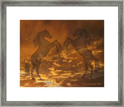 Ghost Horses At Sunset Framed Print