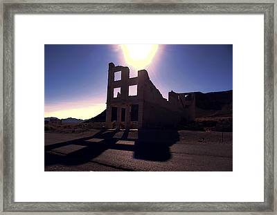 Ghost Town - Bank Closed Framed Print by Maria Arango Diener